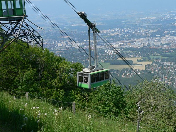 Cable car up Mt. Saleve